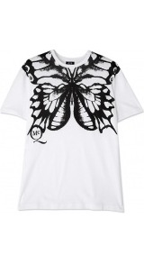 Boyfriend Butterfly T Shirt - style: t-shirt; predominant colour: white; occasions: casual; length: standard; fibres: cotton - 100%; fit: body skimming; neckline: crew; sleeve length: short sleeve; sleeve style: standard; pattern type: fabric; pattern size: big & busy; pattern: patterned/print; texture group: jersey - stretchy/drapey