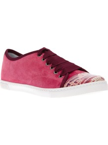 Low Top Trainer - predominant colour: pink; occasions: casual, work, holiday; material: suede; heel height: flat; toe: round toe; style: trainers; trends: sporty redux; finish: plain; pattern: colourblock