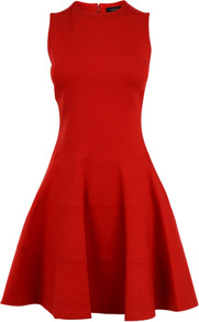 Heavy Jersey Aline Dress - pattern: plain; sleeve style: sleeveless; style: full skirt; waist detail: fitted waist; predominant colour: true red; occasions: evening, occasion; length: just above the knee; fit: fitted at waist &amp; bust; fibres: viscose/rayon - stretch; neckline: crew; hip detail: soft pleats at hip/draping at hip/flared at hip; sleeve length: sleeveless; trends: volume; pattern type: fabric; pattern size: standard; texture group: jersey - stretchy/drapey
