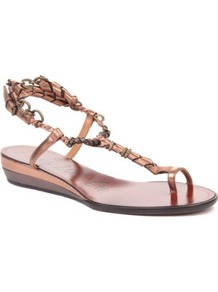 Frenzy Leather Wedge Sandals - predominant colour: champagne; occasions: casual, evening, holiday; material: leather; heel height: mid; ankle detail: ankle strap; heel: wedge; toe: open toe/peeptoe; style: strappy; trends: metallics; finish: plain; pattern: plain