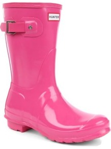 Original Gloss Short Wellies - predominant colour: hot pink; occasions: casual; material: plastic/rubber; heel height: flat; embellishment: buckles; heel: standard; toe: round toe; boot length: mid calf; style: wellies; finish: patent; pattern: plain