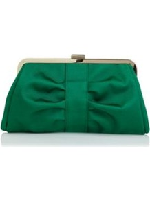 Emerald Green Clutch - predominant colour: emerald green; occasions: evening, occasion; type of pattern: standard; style: clutch; length: hand carry; size: small; material: fabric; embellishment: pleated; pattern: plain; finish: plain