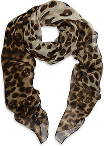 Leopard Chiffon Skull Scarf - predominant colour: chocolate brown; occasions: casual, evening, work, occasion, holiday; type of pattern: standard; style: square; size: standard; material: silk; pattern: animal print