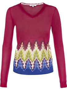 Jacquard Sweater - neckline: v-neck; style: standard; predominant colour: true red; occasions: casual, work; length: standard; fibres: polyester/polyamide - mix; fit: standard fit; sleeve length: long sleeve; sleeve style: standard; texture group: knits/crochet; pattern type: knitted - fine stitch; pattern size: standard; pattern: patterned/print