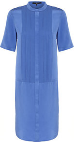Pleat Front Shirt Dress - style: shirt; length: mid thigh; pattern: plain; bust detail: ruching/gathering/draping/layers/pintuck pleats at bust; predominant colour: pale blue; occasions: casual, evening, work; fit: straight cut; neckline: collarstand; fibres: silk - 100%; sleeve length: short sleeve; sleeve style: standard; texture group: sheer fabrics/chiffon/organza etc.; pattern type: fabric