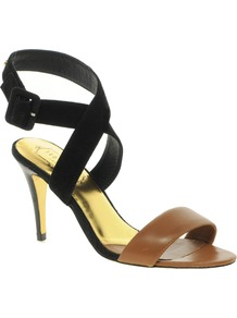 Jolea Strapped Sandals - predominant colour: black; occasions: evening, occasion; material: leather; heel height: high; ankle detail: ankle strap; heel: stiletto; toe: open toe/peeptoe; style: strappy; finish: plain; pattern: colourblock