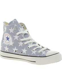 All Star Grey Star Print High Top Trainers - predominant colour: light grey; occasions: casual; material: fabric; heel height: flat; toe: round toe; style: trainers; finish: plain; pattern: patterned/print