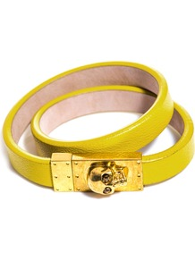 Leather Wrap Around Bracelet - predominant colour: yellow; occasions: casual, evening, work, occasion, holiday; style: buckle; size: standard; material: leather; trends: fluorescent; finish: plain; embellishment: chain/metal