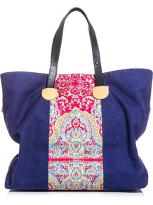 Canvas Paisley Print Bag - predominant colour: royal blue; occasions: casual, holiday; type of pattern: light; style: tote; length: handle; size: standard; material: fabric; pattern: paisley; finish: plain