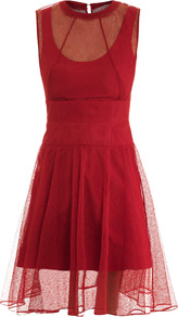Lace Overlay Dress - neckline: round neck; pattern: plain; sleeve style: sleeveless; bust detail: sheer at bust; waist detail: wide waistband/cummerbund; predominant colour: true red; occasions: evening, occasion; length: just above the knee; fit: fitted at waist & bust; style: fit & flare; fibres: polyester/polyamide - 100%; hip detail: soft pleats at hip/draping at hip/flared at hip; back detail: keyhole/peephole detail at back; sleeve length: sleeveless; texture group: lace; pattern type: fabric