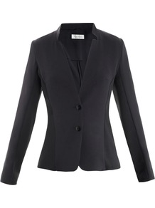 Leandro Jacket - pattern: plain; style: single breasted blazer; collar: standard lapel/rever collar; predominant colour: black; occasions: evening, work, occasion; length: standard; fit: tailored/fitted; fibres: polyester/polyamide - mix; waist detail: fitted waist; sleeve length: long sleeve; sleeve style: standard; texture group: crepes; collar break: medium; pattern type: fabric; pattern size: standard