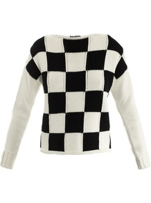 Ontano Sweater - neckline: round neck; pattern: checked/gingham; style: standard; predominant colour: black; occasions: casual, work; length: standard; fibres: cotton - mix; fit: standard fit; sleeve length: long sleeve; sleeve style: standard; texture group: knits/crochet; trends: modern geometrics; pattern type: fabric; pattern size: standard