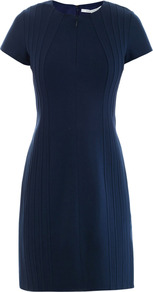Kaelyn Dress - style: shift; neckline: round neck; sleeve style: capped; fit: tailored/fitted; pattern: plain; predominant colour: navy; occasions: casual, evening, occasion; length: just above the knee; fibres: viscose/rayon - stretch; sleeve length: short sleeve; trends: glamorous day shifts; pattern type: fabric; texture group: jersey - stretchy/drapey