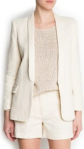 Bouclé Tuxedo Blazer - style: single breasted blazer; collar: shawl/waterfall; length: below the bottom; pattern: herringbone/tweed; predominant colour: ivory; occasions: evening, work, occasion; fit: tailored/fitted; fibres: cotton - mix; sleeve length: long sleeve; sleeve style: standard; trends: tuxedo; collar break: low/open; pattern type: fabric; texture group: tweed - light/midweight