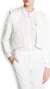 Cropped Jacket - pattern: plain; style: single breasted blazer; collar: round collar/collarless; length: cropped; predominant colour: white; occasions: evening, work, occasion; fit: tailored/fitted; fibres: polyester/polyamide - stretch; sleeve length: long sleeve; sleeve style: standard; collar break: low/open; pattern type: fabric; texture group: woven light midweight
