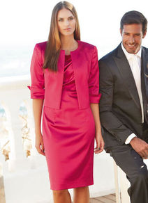 Cocktail Dress - style: shift; neckline: slash/boat neckline; sleeve style: capped; fit: tailored/fitted; pattern: plain; bust detail: ruching/gathering/draping/layers/pintuck pleats at bust; predominant colour: hot pink; occasions: evening, occasion; length: on the knee; fibres: polyester/polyamide - stretch; sleeve length: sleeveless; texture group: structured shiny - satin/tafetta/silk etc.; pattern type: fabric; pattern size: standard