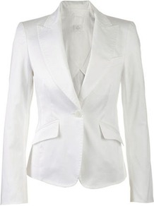 Cotton Blazer - pattern: plain; style: single breasted blazer; collar: standard lapel/rever collar; predominant colour: white; occasions: casual, work, occasion, holiday; length: standard; fit: tailored/fitted; fibres: cotton - stretch; back detail: back vent/flap at back; sleeve length: long sleeve; sleeve style: standard; texture group: cotton feel fabrics; collar break: low/open; pattern type: fabric