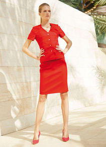 Cotton Jacket - pattern: plain; style: single breasted blazer; predominant colour: true red; occasions: evening, work, occasion; length: standard; fit: tailored/fitted; fibres: cotton - 100%; sleeve length: short sleeve; sleeve style: standard; texture group: cotton feel fabrics; collar break: medium; pattern type: fabric