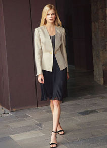 Evening Jacket - pattern: plain; style: single breasted blazer; collar: standard lapel/rever collar; predominant colour: gold; occasions: evening, occasion; length: standard; fit: tailored/fitted; fibres: cotton - mix; sleeve length: long sleeve; sleeve style: standard; trends: metallics; collar break: low/open; pattern type: fabric; pattern size: standard; texture group: woven light midweight