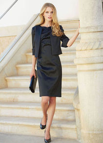 Cocktail Dress - style: shift; neckline: slash/boat neckline; sleeve style: capped; fit: tailored/fitted; pattern: plain; bust detail: ruching/gathering/draping/layers/pintuck pleats at bust; predominant colour: navy; occasions: evening, occasion; length: just above the knee; fibres: polyester/polyamide - stretch; sleeve length: sleeveless; texture group: structured shiny - satin/tafetta/silk etc.; pattern type: fabric; pattern size: standard