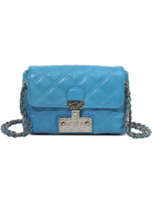 Single Baroque Leather Bag - predominant colour: diva blue; occasions: casual, evening, occasion; type of pattern: light; style: shoulder; length: shoulder (tucks under arm); size: small; material: leather; embellishment: quilted; pattern: plain; finish: plain