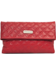 Large Eugenie Clutch - predominant colour: true red; occasions: evening, work, occasion; type of pattern: standard; style: clutch; length: hand carry; size: standard; material: leather; embellishment: quilted; pattern: plain; finish: plain