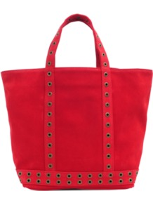 Medium Tote In Velvet Leather - predominant colour: true red; occasions: casual, evening, work, holiday; type of pattern: standard; style: tote; length: handle; size: standard; material: leather; embellishment: studs; pattern: plain; finish: plain