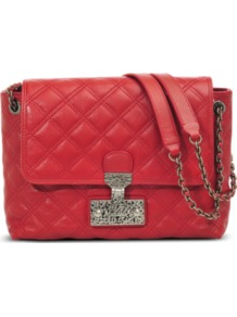 Large Single Baroque Bag - predominant colour: true red; occasions: evening, work, occasion, holiday; type of pattern: standard; style: shoulder; length: shoulder (tucks under arm); size: small; material: leather; embellishment: quilted; pattern: plain; finish: plain