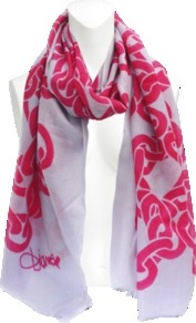 Kenley Chain Scarf - secondary colour: blush; predominant colour: hot pink; occasions: casual, work; type of pattern: standard; style: regular; size: standard; pattern: patterned/print; material: cashmere
