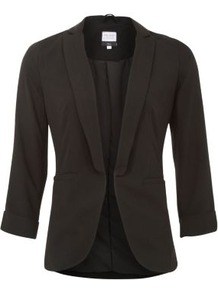 Tall Black Crepe Roll Sleeve Blazer - pattern: plain; style: single breasted tuxedo; collar: standard lapel/rever collar; predominant colour: black; occasions: casual, evening, work; length: standard; fit: tailored/fitted; fibres: polyester/polyamide - 100%; sleeve length: 3/4 length; sleeve style: standard; trends: tuxedo; collar break: low/open; pattern type: fabric; texture group: other - light to midweight
