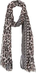 Brown Leopard Aztec Print Scarf - predominant colour: chocolate brown; occasions: casual; type of pattern: standard; style: regular; size: standard; material: fabric; pattern: animal print