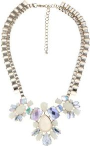 Limited Cream Gem Stone Chunky Chain Necklace - predominant colour: ivory; secondary colour: gold; occasions: evening, occasion, holiday; style: bib; length: mid; size: large/oversized; material: chain/metal; trends: metallics; finish: metallic; embellishment: jewels