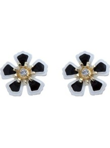 Monochrome Enamel Flower Stud Earrings - predominant colour: black; occasions: casual, work; style: stud; length: short; size: small; material: chain/metal; fastening: pierced; finish: plain; embellishment: crystals