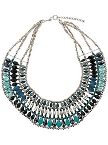 Mega Bead Necklace - predominant colour: teal; occasions: casual, evening, work, occasion, holiday; style: choker/collar; length: short; size: standard; material: chain/metal; trends: metallics; finish: plain; embellishment: beading