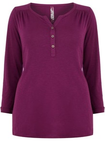 Pink Panel Shirt - neckline: v-neck; pattern: plain; style: shirt; bust detail: buttons at bust (in middle at breastbone)/zip detail at bust; predominant colour: magenta; occasions: casual; length: standard; fibres: cotton - 100%; fit: body skimming; shoulder detail: flat/draping pleats/ruching/gathering at shoulder; sleeve length: 3/4 length; sleeve style: standard; pattern type: fabric; texture group: jersey - stretchy/drapey