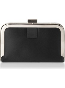 Amelia Framed Satin Box Clutch Black - predominant colour: black; occasions: evening; style: clutch; length: hand carry; size: small; material: leather; pattern: plain; finish: plain