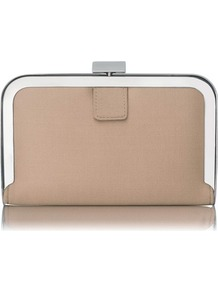 Amelia Framed Satin Box Clutch Pink Blush - predominant colour: nude; occasions: evening, occasion; type of pattern: standard; style: clutch; length: hand carry; size: small; material: satin; pattern: plain; finish: metallic; embellishment: chain/metal