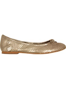 Felicia Light Gold Metal Shoes - predominant colour: gold; occasions: casual, evening, occasion; material: leather; heel height: flat; toe: round toe; style: ballerinas / pumps; trends: metallics; finish: metallic; pattern: animal print