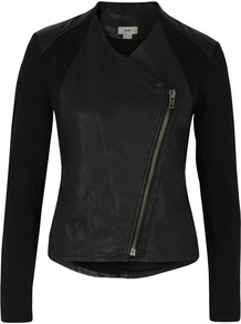 Washed Leather Black Jacket - pattern: plain; style: biker; collar: asymmetric biker; shoulder detail: contrast pattern/fabric at shoulder; predominant colour: black; occasions: casual, evening; length: standard; fit: tailored/fitted; fibres: leather - 100%; sleeve length: long sleeve; sleeve style: standard; texture group: leather; collar break: high/illusion of break when open; pattern type: fabric
