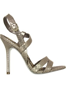 Abbott Pewter Shoes - predominant colour: champagne; occasions: evening, occasion; material: leather; heel height: high; ankle detail: ankle strap; heel: stiletto; toe: open toe/peeptoe; style: strappy; trends: metallics; finish: metallic; pattern: animal print
