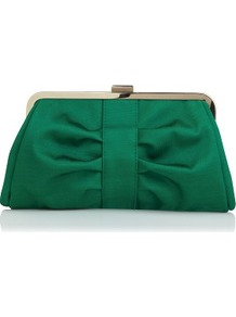 Emerald Green Clutch - predominant colour: emerald green; occasions: evening, occasion; type of pattern: standard; style: clutch; length: hand carry; size: standard; material: fabric; pattern: plain; finish: plain