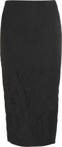 Crinkled Pencil Skirt - length: below the knee; pattern: plain; style: pencil; fit: tailored/fitted; hip detail: fitted at hip; waist: mid/regular rise; predominant colour: black; occasions: evening, work; fibres: cotton - mix; texture group: cotton feel fabrics; pattern type: fabric; pattern size: standard