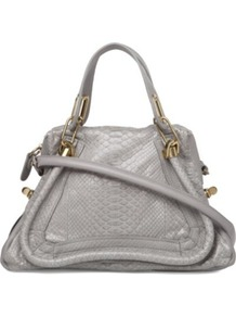 Paraty Python Shoulder Bag - predominant colour: light grey; occasions: casual, work; type of pattern: light; style: shoulder; length: shoulder (tucks under arm); size: standard; material: leather; pattern: animal print; finish: plain