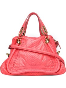 Paraty Python Shoulder Bag - predominant colour: coral; occasions: casual, work, holiday; type of pattern: light; style: shoulder; length: shoulder (tucks under arm); size: standard; material: animal skin; pattern: animal print; trends: fluorescent; finish: plain