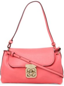 Elsie Leather Cross Body Bag - predominant colour: pink; occasions: casual, evening; style: shoulder; length: across body/long; size: small; material: leather; pattern: plain; finish: plain