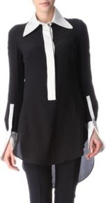 Contrast Detail Shirt - neckline: shirt collar/peter pan/zip with opening; sleeve style: extended cuff; pattern: plain; length: below the bottom; style: shirt; secondary colour: white; predominant colour: black; occasions: casual, evening, work, holiday; fibres: silk - 100%; fit: loose; back detail: longer hem at back than at front; sleeve length: extra long; texture group: silky - light; pattern type: fabric