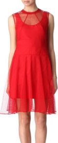 Lace Dress - pattern: plain; sleeve style: sleeveless; waist detail: wide waistband/cummerbund; predominant colour: true red; occasions: evening, occasion; length: just above the knee; fit: fitted at waist &amp; bust; style: fit &amp; flare; neckline: crew; hip detail: soft pleats at hip/draping at hip/flared at hip; back detail: keyhole/peephole detail at back; sleeve length: sleeveless; pattern type: fabric; texture group: other - light to midweight; fibres: viscose/rayon - mix; embellishment: lace