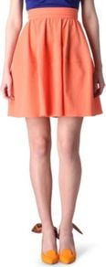 Seersucker Skirt - length: mid thigh; pattern: plain; fit: body skimming; waist: high rise; waist detail: twist front waist detail/nipped in at waist on one side/soft pleats/draping/ruching/gathering waist detail; predominant colour: coral; occasions: casual, evening, occasion, holiday; style: fit & flare; fibres: cotton - stretch; hip detail: soft pleats at hip/draping at hip/flared at hip; texture group: cotton feel fabrics; pattern type: fabric