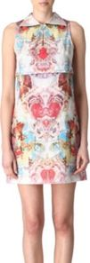 Opera Print Dress - style: shift; length: mid thigh; neckline: shirt collar/peter pan/zip with opening; sleeve style: sleeveless; occasions: evening, occasion; fit: soft a-line; fibres: polyester/polyamide - 100%; predominant colour: multicoloured; sleeve length: sleeveless; texture group: crepes; trends: statement prints; pattern type: fabric; pattern size: big &amp; busy; pattern: patterned/print