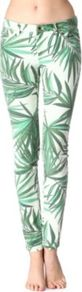 Palm Print Skinny Jeans - style: skinny leg; length: standard; pocket detail: small back pockets, pockets at the sides, traditional 5 pocket; waist: mid/regular rise; predominant colour: emerald green; occasions: casual, evening, holiday; fibres: cotton - stretch; texture group: denim; trends: statement prints; pattern type: fabric; pattern size: small &amp; busy; pattern: patterned/print